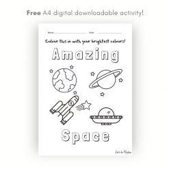 Free Children's Space colouring in sheet