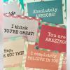 Motivational greeting postcards
